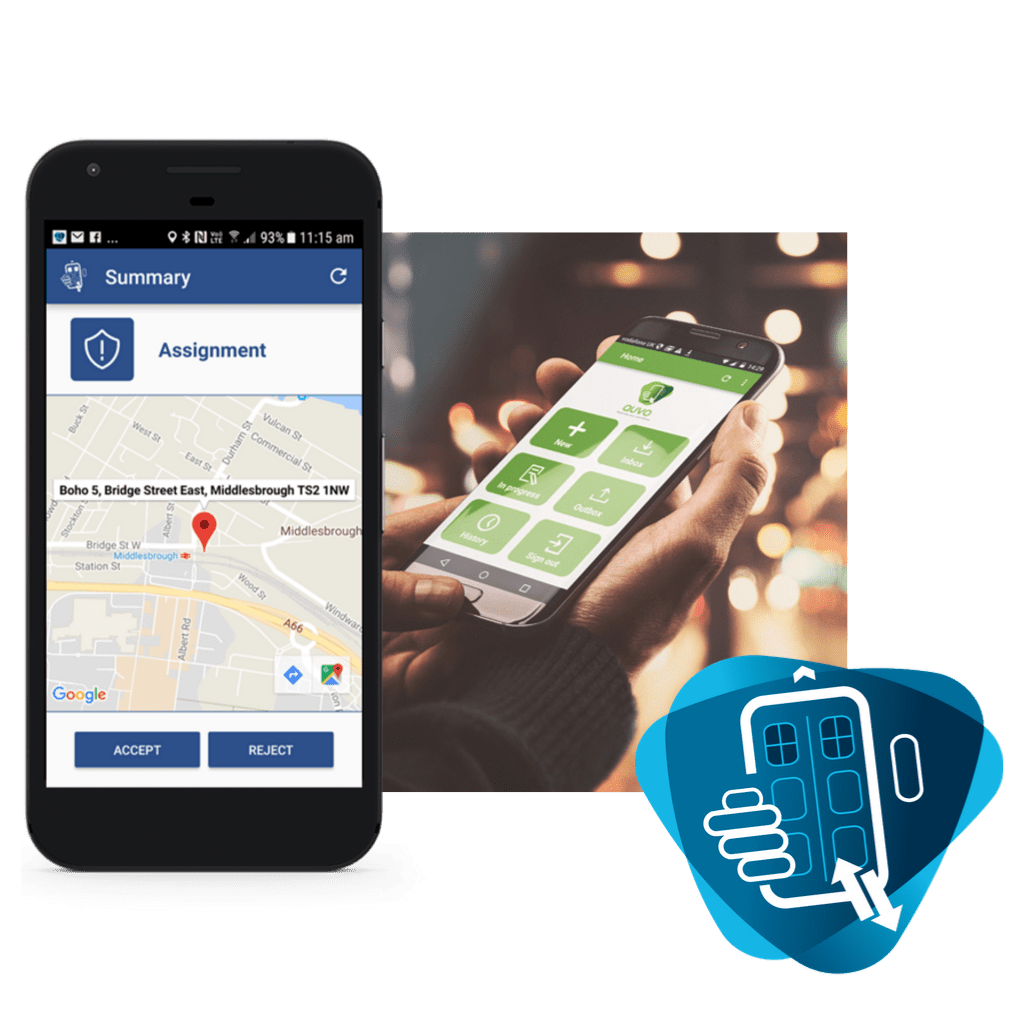 mobile phone displaying Coeus software app