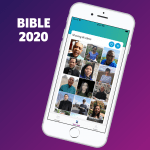 Mobile phone displaying Bible 2020 mobile app home screen