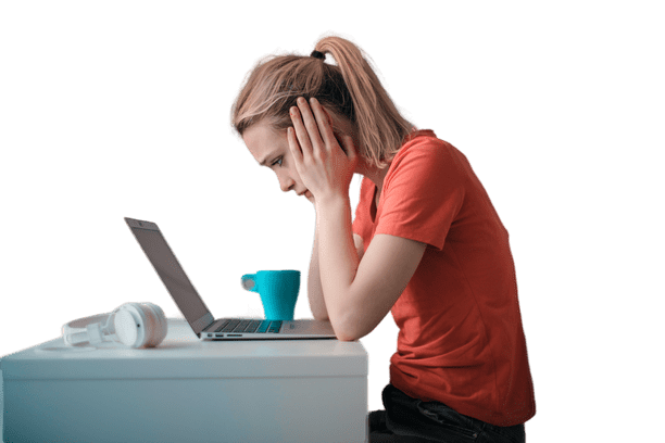 Woman sulking on table because her mobile app idea is bad